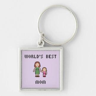 Beste das Mädchen-Mamma Keychain der Pixel-Welt Schlüsselanhänger