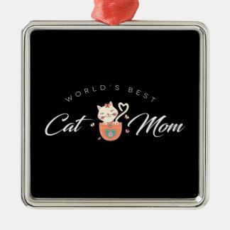 Beste die Katzen-Mamma der Welt für Quadratisches Silberfarbenes Ornament