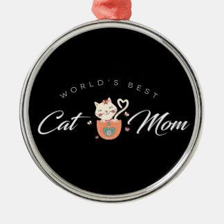Beste die Katzen-Mamma der Welt für Silbernes Ornament