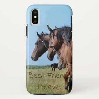 Beste Freund-für immer schöne Brown-Pferde iPhone X Hülle