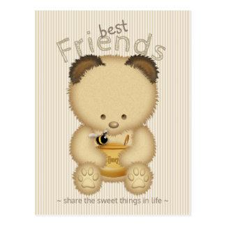 Beste Freund-niedlicher Honig-Bär Postkarte