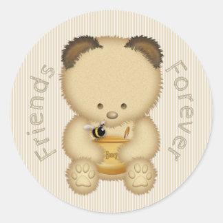 Beste Freund-niedlicher Honig-Bär Runder Aufkleber