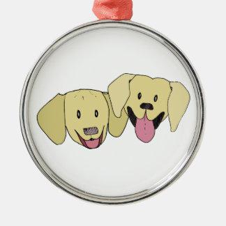 Beste Freunde - die Labradore Silbernes Ornament