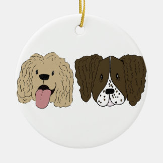 Beste Freunde - die Spaniels Rundes Keramik Ornament