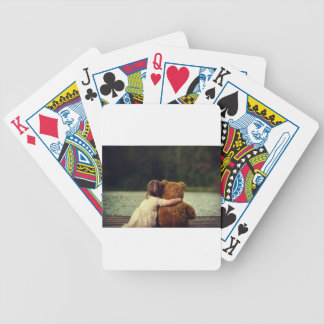 Beste Freunde ein kleines Mädchen und ihr Teddybär Bicycle Spielkarten
