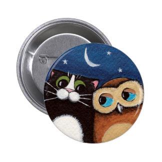 Beste Freunde - Eulen-und Katzen-Kunst-Knopf Button