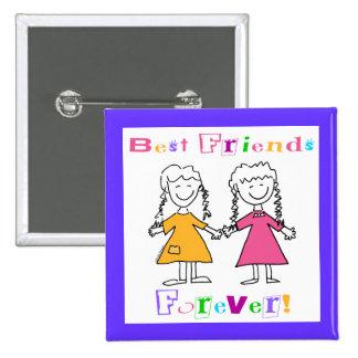 Beste Freunde für immer BESTE FREUNDIN Geschenke Quadratischer Button 5,1 Cm