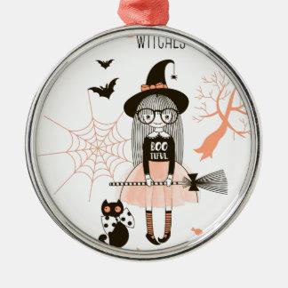 Beste Hexen glückliches Halloween Rundes Silberfarbenes Ornament