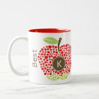 Beste Lehrer-Monogramm-Apple-Tassen-Schale Zweifarbige Tasse