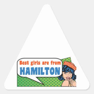 Beste Mädchen sind von Hamilton Dreieckiger Aufkleber