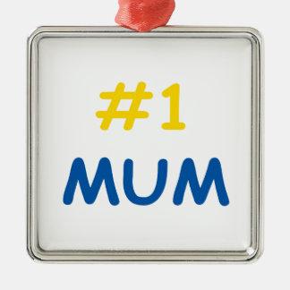 beste Mutter der Mama #1 Quadratisches Silberfarbenes Ornament
