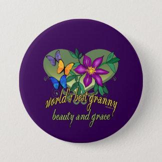 Beste Oma-Schönheit und Anmut Runder Button 7,6 Cm