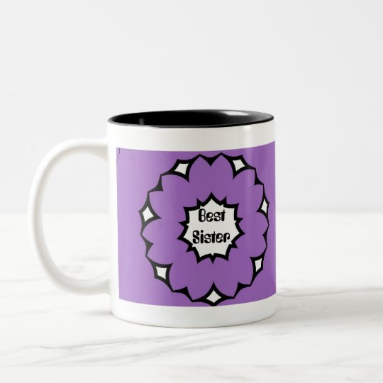 beste schwester gro e lila u wei e blumen tasse zweifarbige tasse zazzle. Black Bedroom Furniture Sets. Home Design Ideas