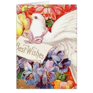 Beste Wunsch-viktorianische Tauben-Blumen Vintages Karte