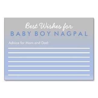 Beste Wünsche für Baby-Ratekarte Ombre Blau-Silber Karte