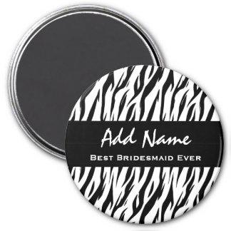 Bester Brautjungferüberhaupt Zebra-individueller Runder Magnet 7,6 Cm