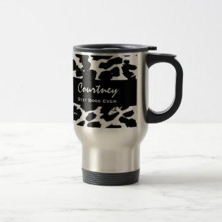 Bester Chef-überhaupt Name-Schwarz-weißer Leopard Edelstahl Thermotasse