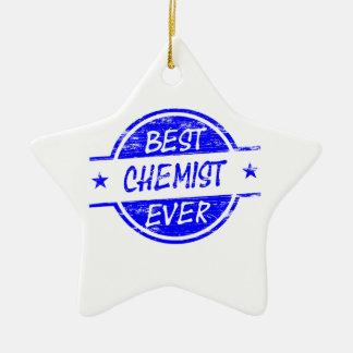 Bester Chemiker überhaupt blau Keramik Stern-Ornament