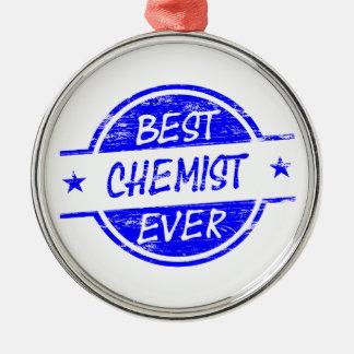 Bester Chemiker überhaupt blau Rundes Silberfarbenes Ornament