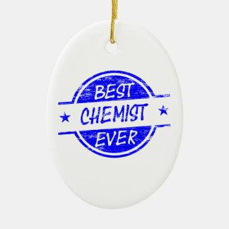 Bester Chemiker überhaupt blau Ovales Keramik Ornament