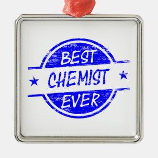Bester Chemiker überhaupt blau Quadratisches Silberfarbenes Ornament