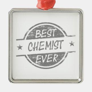 Bester Chemiker überhaupt grau Quadratisches Silberfarbenes Ornament