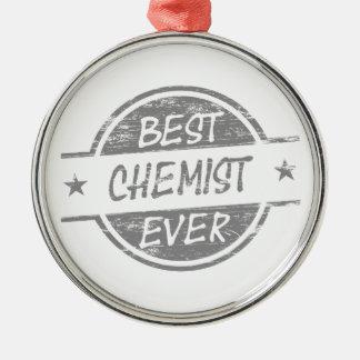 Bester Chemiker überhaupt grau Rundes Silberfarbenes Ornament