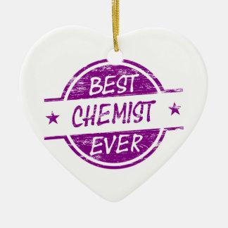 Bester Chemiker überhaupt lila Keramik Herz-Ornament