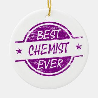 Bester Chemiker überhaupt lila Weihnachtsbaum Ornament