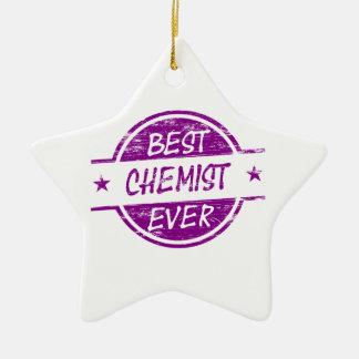 Bester Chemiker überhaupt lila Keramik Stern-Ornament