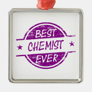 Bester Chemiker überhaupt lila Quadratisches Silberfarbenes Ornament