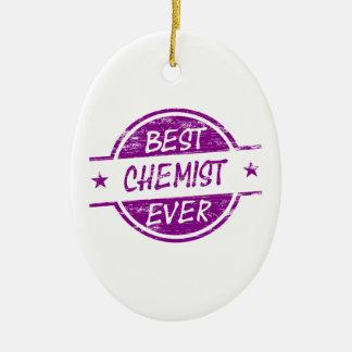 Bester Chemiker überhaupt lila Ovales Keramik Ornament