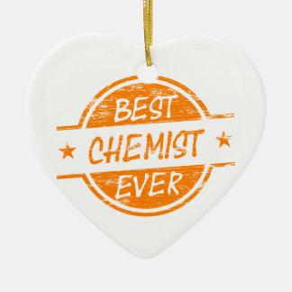 Bester Chemiker überhaupt orange Keramik Herz-Ornament