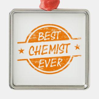 Bester Chemiker überhaupt orange Quadratisches Silberfarbenes Ornament