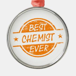 Bester Chemiker überhaupt orange Rundes Silberfarbenes Ornament