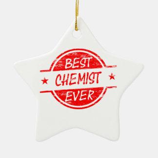 Bester Chemiker überhaupt rot Keramik Stern-Ornament