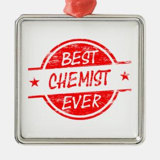Bester Chemiker überhaupt rot Quadratisches Silberfarbenes Ornament