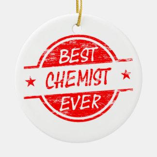 Bester Chemiker überhaupt rot Rundes Keramik Ornament