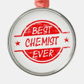 Bester Chemiker überhaupt rot Rundes Silberfarbenes Ornament