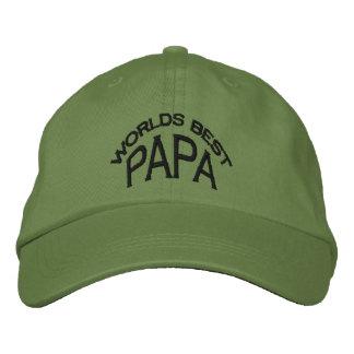 Bester der Papa-Hut der Welt (dunkle Buchstaben) Bestickte Kappe