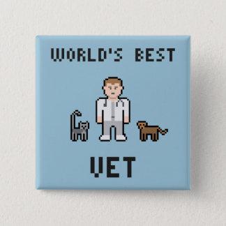 Bester der Tierarzt-Knopf der Pixel-Welt Quadratischer Button 5,1 Cm