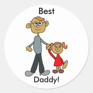 Bester der Vatertags-Vater-Tochter-Cartoon Vati- Runder Aufkleber