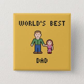Bester der Vati-Knopf der Pixel-Welt Quadratischer Button 5,1 Cm