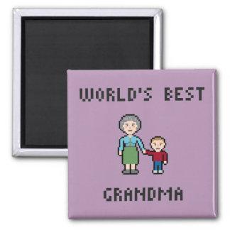 Bester die Großmutter-Magnet der Pixel-Welt Quadratischer Magnet