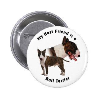 Bester Freund-Bullterrier Runder Button 5,1 Cm