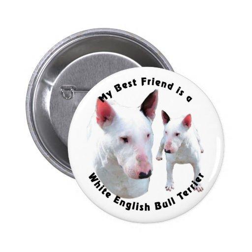 Bester Freund-englisches Bullterrier-Weiß Button