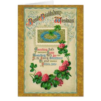 Bester Geburtstag wünscht Vintage Karte