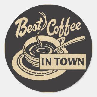 Bester Kaffee in der Stadt Runder Aufkleber
