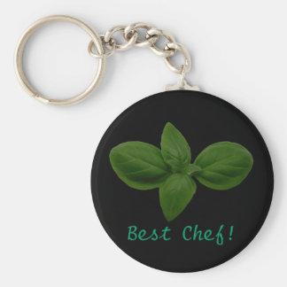 Bester Koch! Basilikum-Blatt Keychain Standard Runder Schlüsselanhänger