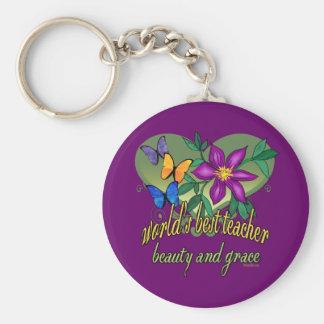Bester Lehrer-überhaupt Blumendruck Schlüsselanhänger